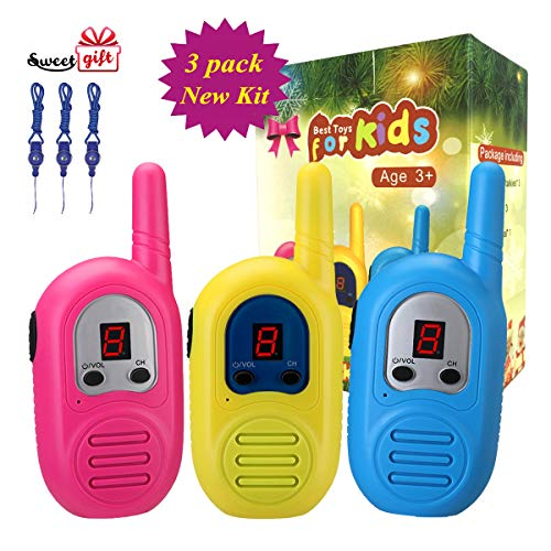 Walkie Talkies for Kids 3 Pack, 2 Mile Transmission Rechargeable Kids Walkie Talkies with Lanyards , 2 Way Radios for Boys Girls in Adventure Open Games