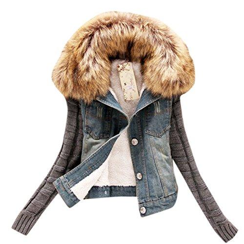 Trim Knit Jacket (Allbebe Women's Fall Slim Long Knit Sleeve Lamb Denim Jacket with Faux-Fur Trim)