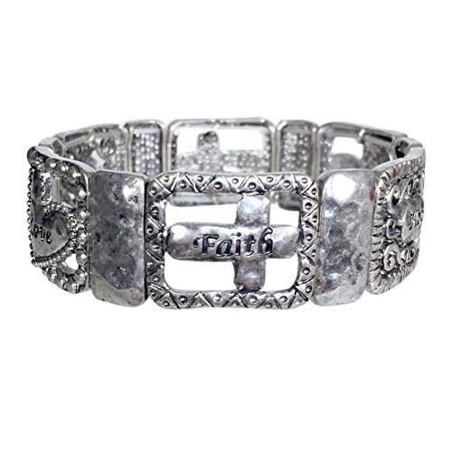 (Gypsy Jewels Hope Love Faith Worded Cross Burnished Silver Tone Stretch Bracelet)