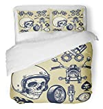 Emvency 3 Piece Duvet Cover Set Brushed Microfiber Fabric Breathable Flag of Hand Made Vintage Motorcycle Race Skull Helmet Flame Piston Patch Wheel Bedding Set with 2 Pillow Covers Full/Queen Size