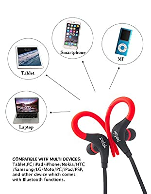 Bluetooth Headset Fitness, Wireless Earphones to Sports, Driving, Running, Biking . Light Comfortable Premium Noise Cancelling . Headphones Great Sound Quality & Built-In Mic PATOK. (Red /Black)