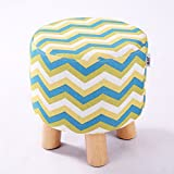 Cheap QVB Padded Round Child Foot Stool Short Ottoman Footrest for Gaming Chairs, Arrow Yellow Green Color