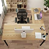 DlandHome L-Shaped Desk Large Corner Desk Folding Table Computer Desk Home Office Table Computer Workstation, Teak DND-ND11-TB