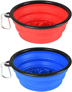 Guardians Large Collapsible Dog Bowls, 34oz Travel Water Food Bowls Portable Foldable Collapse Dishes with Carabiner Clip for Traveling, Hiking, Walking, 2 Pack