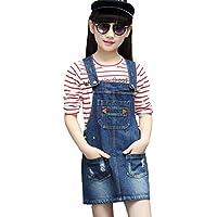 Kidscool Girls Ripped Big Bibs Adjustable Straps Denim Overall Dress