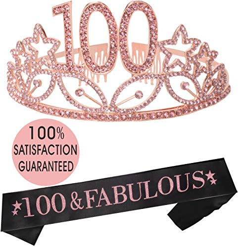 100th Birthday Tiara and Sash Pink| Happy 100th Birthday Party Supplies| 100 and Fabulous Pink Black Glitter Satin Sash | Crystal Tiara Birthday Crown for 100th Birthday Party Supplies and Decoration...]()