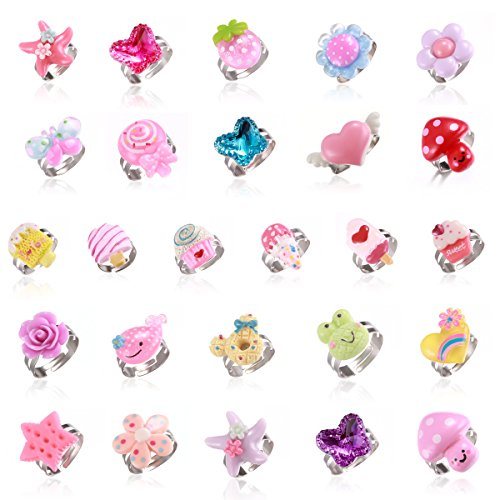 Tamhoo 26pcs Stretchy Durable Rings Set for Kids Flowers Butterfly Donut Ring for Girl Playing Dress Up Toys Party Favor Pack Birthday Gift (Style A-26pcs)