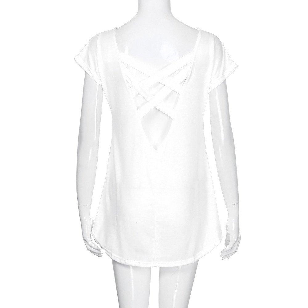 Frau Mode L/ässige Reizvolle R/ückenfreie Verband Kurzarmhemd Oberteile Tunika Crop Top Zimuuy Damen Sommer Bluse