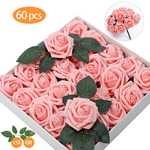 TOPHOUSE 60pcs Artificial Flowers Roses Real Touch Fake Roses for DIY Wedding Bouquets Bridal Shower Party Home Decorations (Blush)