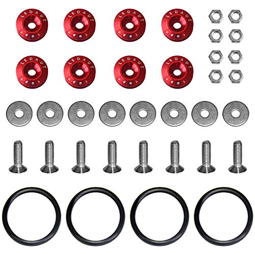 LEDAUT Bumper-Quick-Release-Kit Red-8Pcs Red Finish Car Body Moldings Bumper Quick Release Bumper Fasteners for Car Bumpers Trunk Fender Hatch Lids Kit