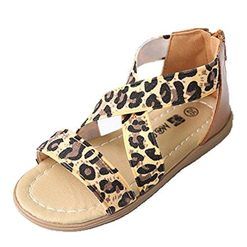 Ohmais Kinder Mädchen flach Freizeit Sandalen Sandaletten Kleinkinder Mädchen Halbschuhe Sandalette Ballerinas Leopard