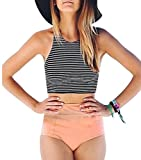 EVALESS Womens High Waist 2 Piece Bikini Swimsuit Spa Swimsuit Pink Small Size