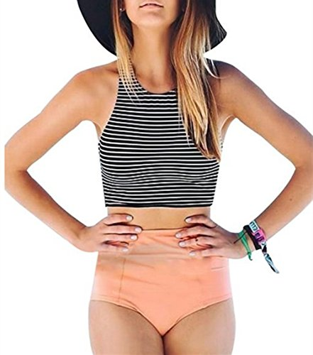 EVALESS Womens Striped Tank Top High Waist Swimwear Bikini Set Pink Large Size