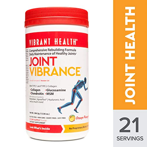 (Vibrant Health - Joint Vibrance Powder, Support to Maintain and Repair Joint Health with Collagen, Glucosamine, and Chondroitin, Gluten Free, Dairy Free, Non-GMO, Orange Pineapple, 21 Servings (FFP))