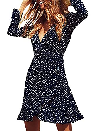 Dellytop Women's Casual Polka Dot V Neck Ruffle Chiffon Wrap Mini Dress