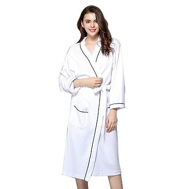 Albornoz de Ducha para Hombre y Mujer, 100% algodón Bata de Bano Encaje Batas