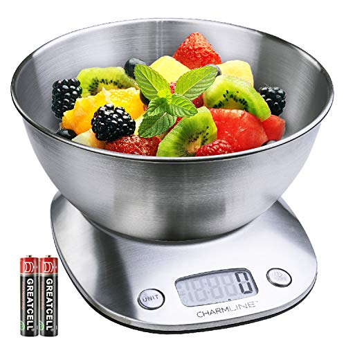 Digital Kitchen Food Scale with Bowl 2L Volume, Stainless Steel Scale for Food,11lb/5kg, 4 Units&Auto-off & Tare Function(Battery Included) by CHARMLINE (Food Scale Bowl Steel)