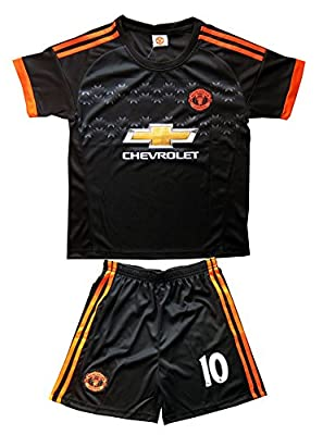 2015/2016 Manchester United #10 Rooney Away Black Kids Soccer Jersey & Shorts