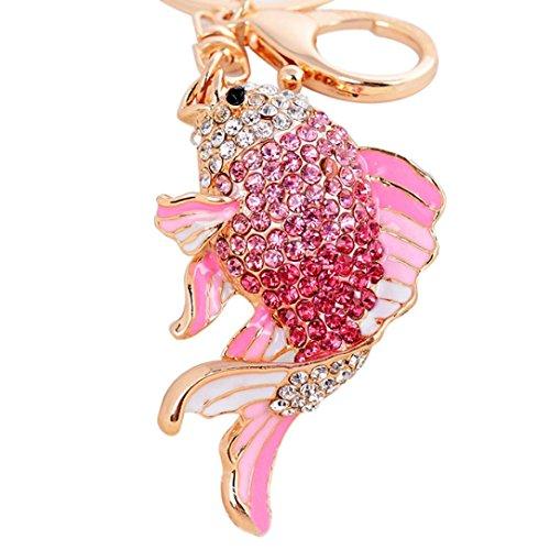 Keychains,AutumnFall 13CM Cute Carp Key Ring Chain Car Metal Alloy Security Green Key Chain (Pink) ()