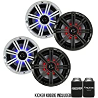 KM8 8-INCH (160mm) Marine Coaxial Speakerswith 1 tweeters,LED Charcoal and White Grilles,4-OHM bundle