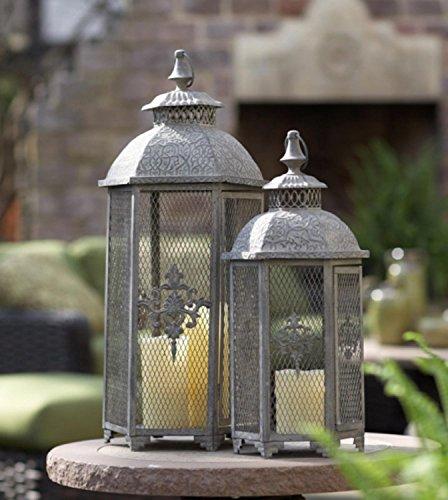 (Set of 2 Gray Antique Style Mesh Lantern Pillar Candle Holders 25.5