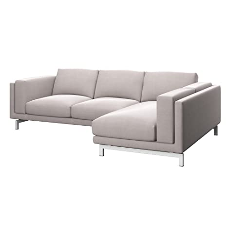 Soferia - Replacement Cover for IKEA NOCKEBY 2-seat Sofa with Right Chaise Longue, Elegance Beige