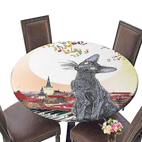 PINAFORE Round Premium Table Animal City Skyline with Moonlight and Cat Singing on Roof Music Notesand Piano in The Night Multi for Indoor, Outdoor 40