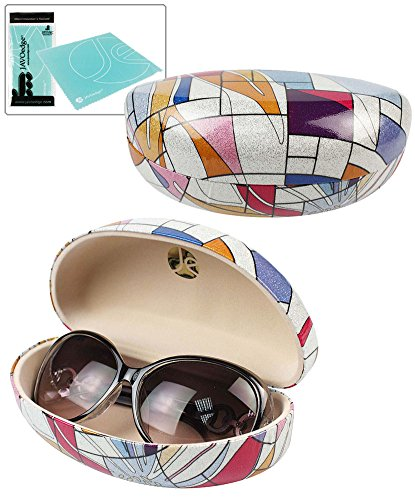 JAVOedge Red and Blue Abstract Pattern Fabric Clamshell Style Eyeglass / Sunglasses Case