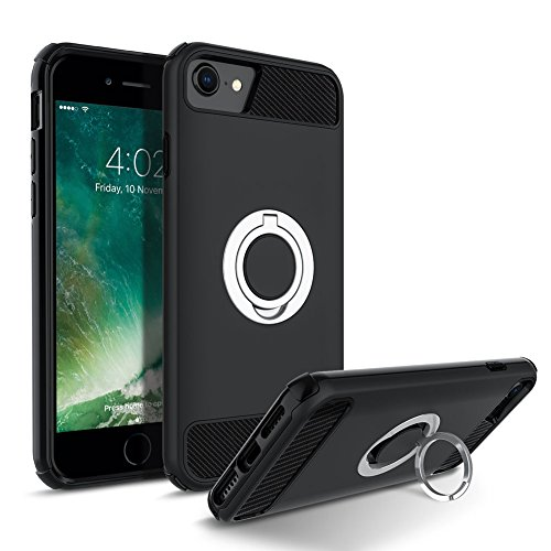 iPhone 7 Case, iPhone 8 Case, Cohesiongo 360 Degree Rotating Ring Kickstand Case Shockproof Impact Protection function Can work with Magnetic Car Mount Cover for iPhone 8/7 (Black)