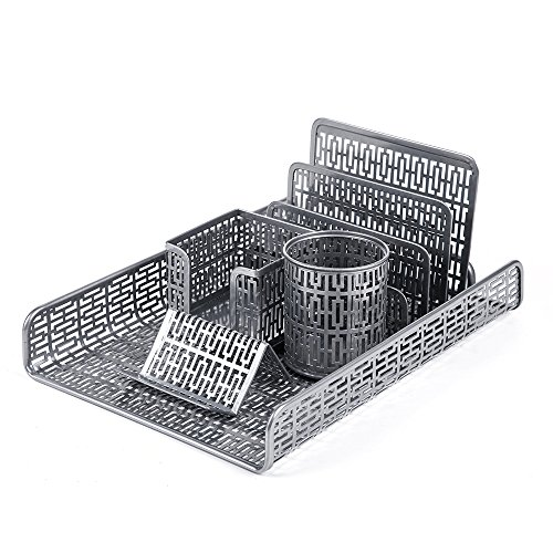 Crystallove Metal Mesh Desk Accessories Office Products Organizer Set of 5pcs-Document Tray, Mail Sorter, Pencil Cup, Memo Holder and Business Card Holder (Silver-Style 1) by Crystallove (Image #1)