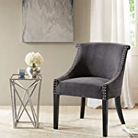 Caitlyn Roll Back Accent Chair Dark Gray See below
