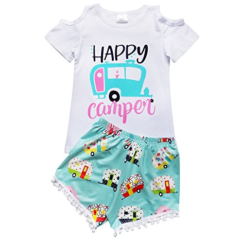 So Sydney Girls Toddler Pom Pom Novelty Summer Pool Beach Vacation Shorts Outfit (4T (M), Happy Camper) ()