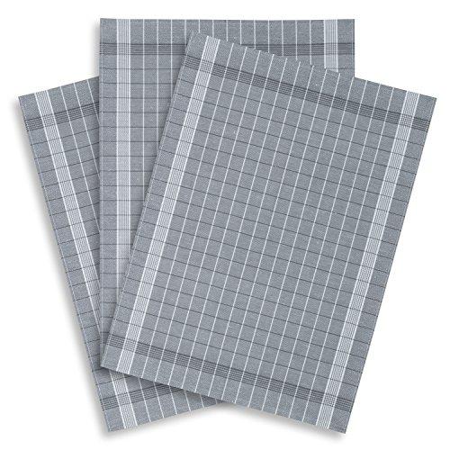 3er-Set Geschirrtuch Halbleinen Trockenperle FRESH grau, KRACHT, Edition ziczac-affaires, ca.50x70cm