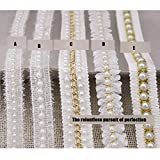 3 Yard Braided Beaded White Pearls Trimming Lace Ribbon Trim Costume Applique Motif DIY Craft Sewing Supplies