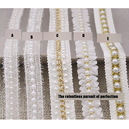 Pearl Trim (3 Yard Braided Beaded White Pearls Trimming Lace Ribbon Trim Costume Applique Motif DIY Craft Sewing Supplies)