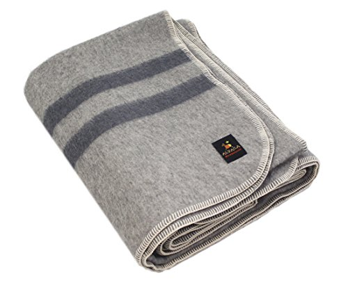Alpaca Wool Throw (Thick Alpaca Wool Blanket (Queen, Light Gray - Gray Stripes))