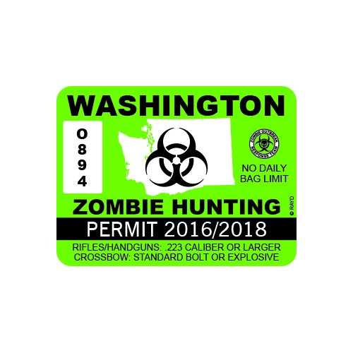 RDW Washington Zombie Hunting Permit - Color Sticker - Decal - Die Cut