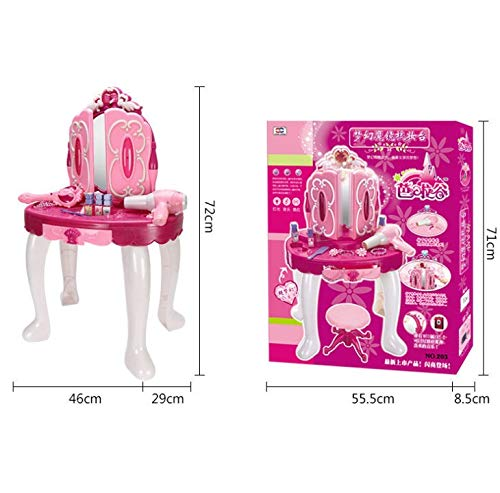 sogoog Girls Make Up Dressing Table, Glamorous Princess Dressing Table with Stool, Mirror, Hair Dryer, Make-Up Table Toy Play Set by sogoog (Image #6)