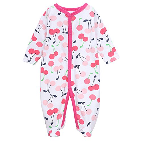 Fair Baby Unisex Baby Long Sleeve Pajamas Cartoon Print Footed Coveralls,3-6M,Cherry