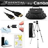 """Essential Kit For Canon VIXIA HF R52, R50, HF R500, HF R62, HF R60, HF R600, VIXIA HF R700, VIXIA HF R72, VIXIA HF R70 Camcorder Includes 50"""" Tripod + Case + Mini HDMI Cable + Screen Protectors + More"""