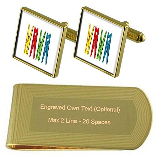 Engraved Gift Gold Laundry Set Clip tone Cufflinks Peg Washing Clothes Money wf4PqxOn