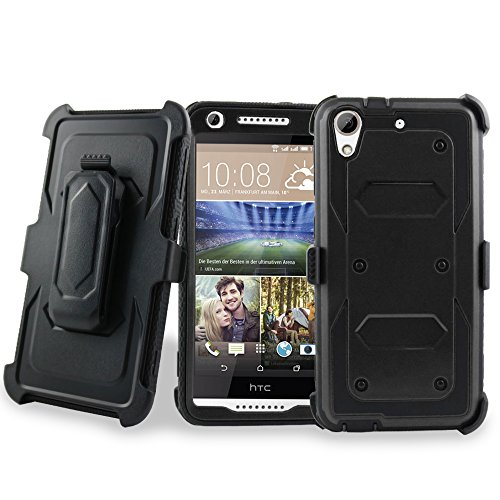 HTC Desire 626 & 626s Case, Customerfirst - High Impact Resistant Dual Layer Armor Holster With Locking Belt Clip Defender Case for HTC 626 + emoji keychain (Black Black)