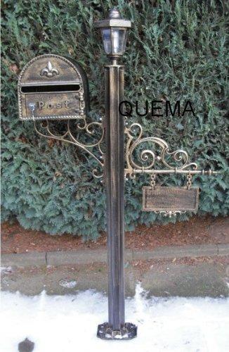 Briefkasten Mit Namensschild Und Lampe Postkasten Antik Look