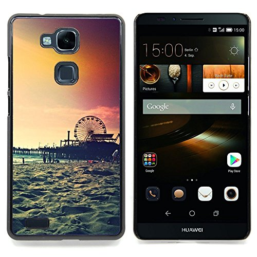 Price comparison product image For HUAWEI Ascend MATE 7 Case ,  Sunset Coney Island New York Summer - Colorful Pattern Hard Back Snap-On Cover Case Skin Mobile Phone Shell Bumper