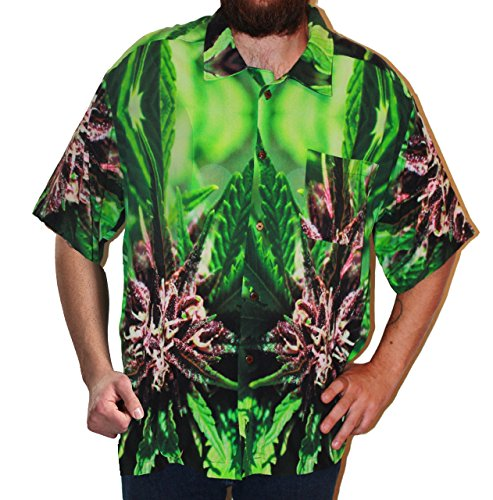 Hawaiian Shirts Mens Rayon Aloha Party Holiday Purple Nepal - XL by Cannaflage Designs