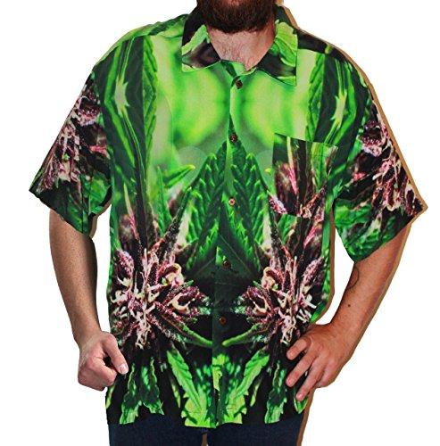 Hawaiian Shirts Mens Rayon Aloha Party Holiday Purple Nepal - XL by Cannaflage Designs