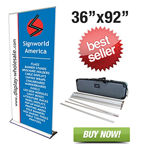 "Signworld 36"" HD Retractable Roll Up Banner Stand Trade Show Display"