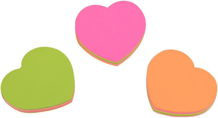 3PCS Heart Shaped Sticky Notes,Strong Adhesive Colored Sticky Notes with Tabs,Self-Adhesive Notes Posted Writing Pads Stickers Paper for Home Office