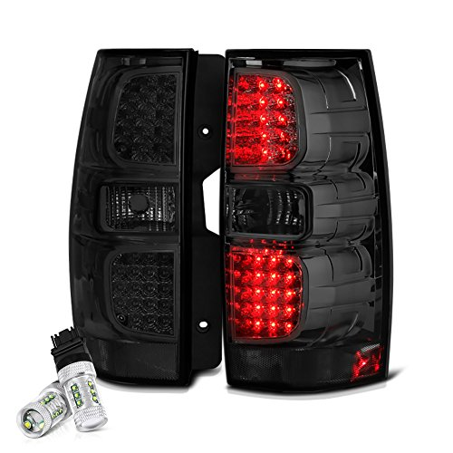VIPMOTOZ Chrome Smoke Version II LED Tail Light Lamp Assembly For 2007-2014 Chevy Tahoe Suburban GMC Yukon XL 1500 2500 - CREE Version II LED Backup Bulbs Included, Driver & Passenger Side