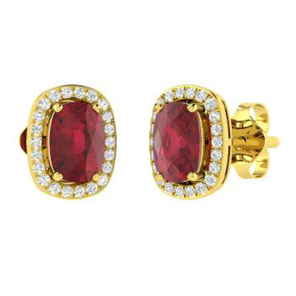 DTJEWELS 2.24 Ct Cushion /& Round Cut Ruby /& Sim Diamond Girls Halo Stud Earrings 14K Gold Plated 925